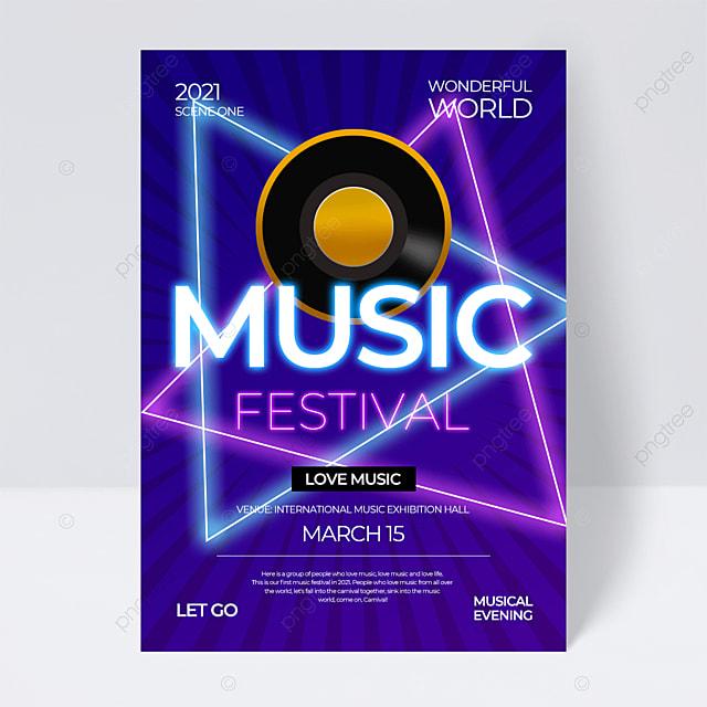 neon line effect creative music festival flyer
