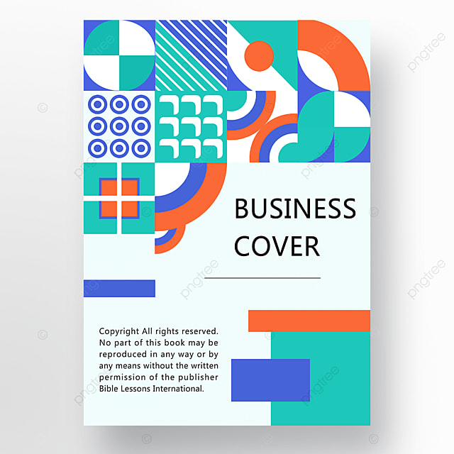 orange green blue modern abstract geometric business plan cover poster