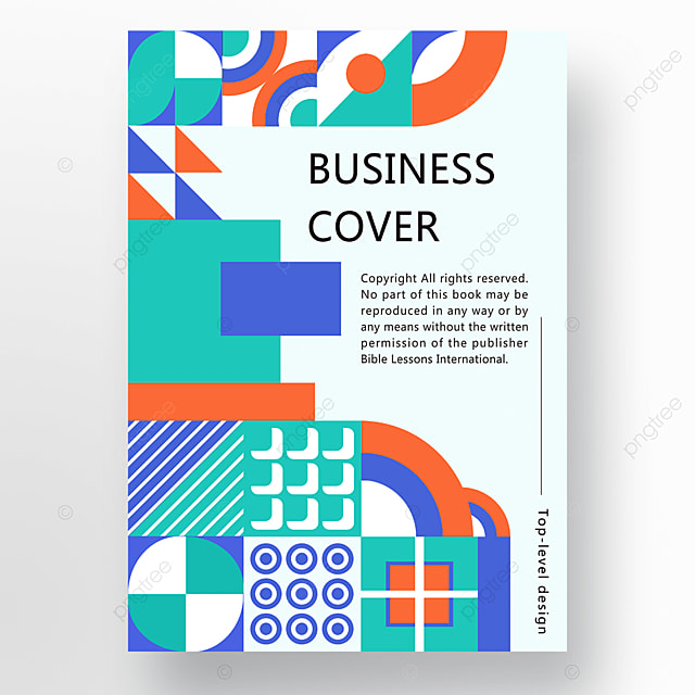 orange green blue modern concise geometric business plan cover poster