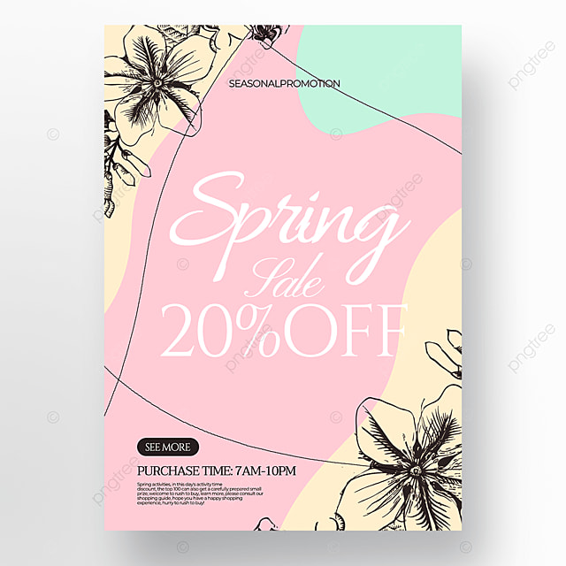 pink background flowers and green plants linear draft style spring promotion poster