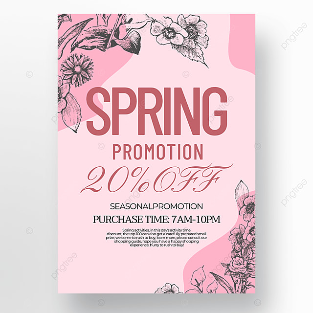pink creative flower green plant linear draft style spring promotion poster