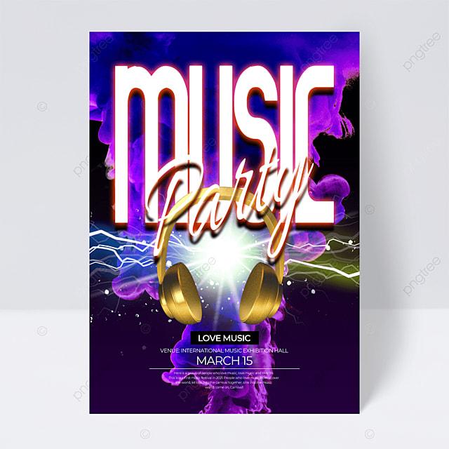 purple background neon effect music festival flyer