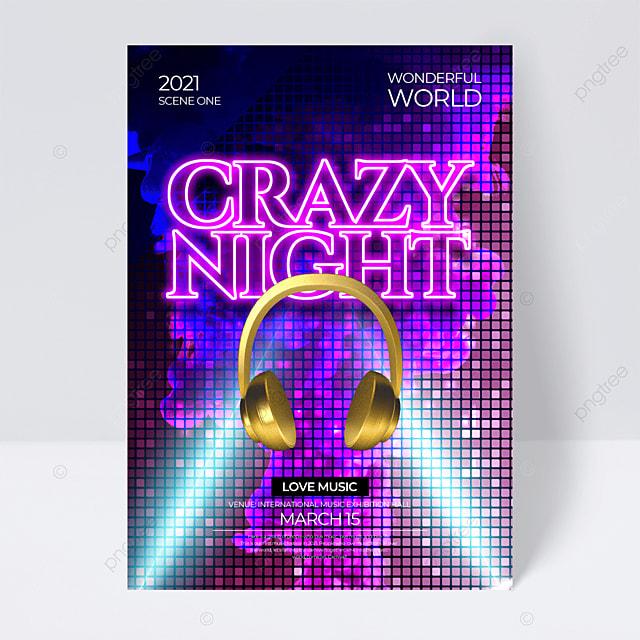 purple creative neon effect music festival flyer