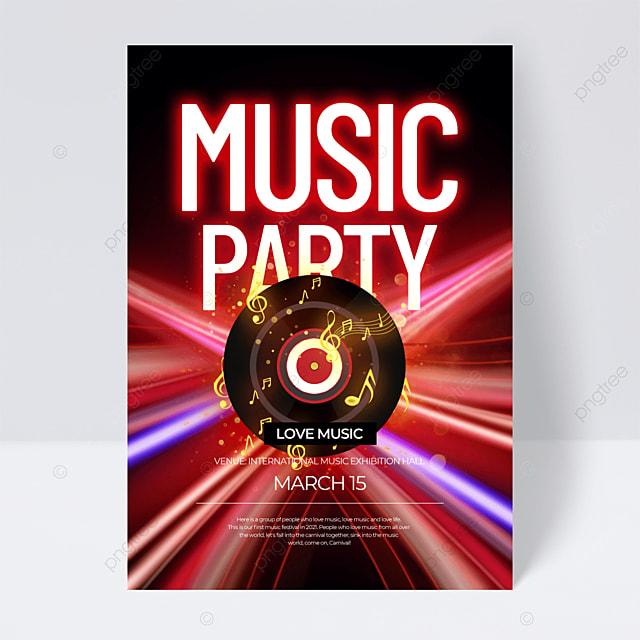 red neon effect music festival flyer