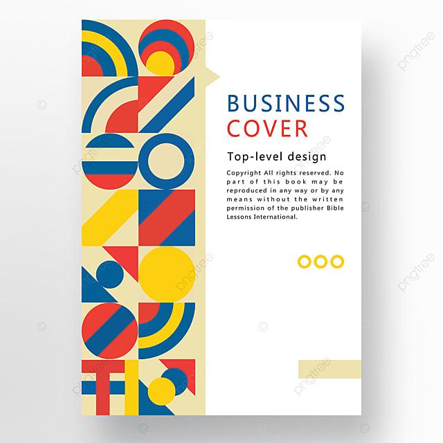 red yellow blue modern minimalist geometric business plan cover
