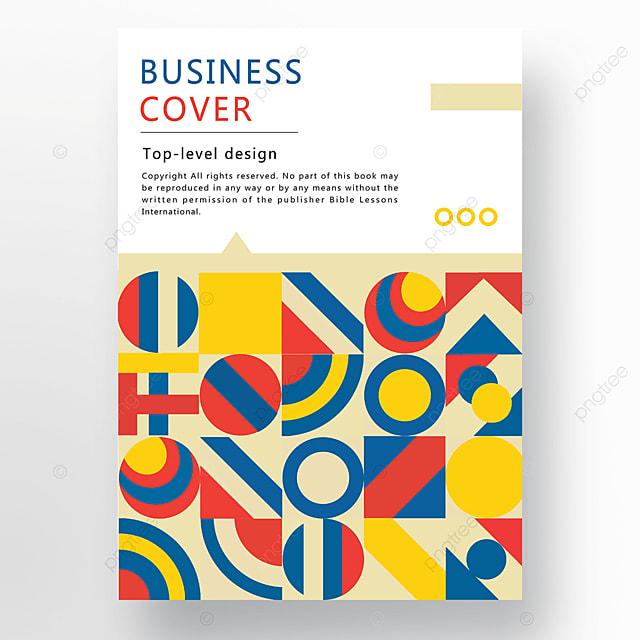 red yellow blue modern stylish geometric business plan cover
