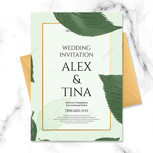 simple and fashionable green plant golden line wedding invitation