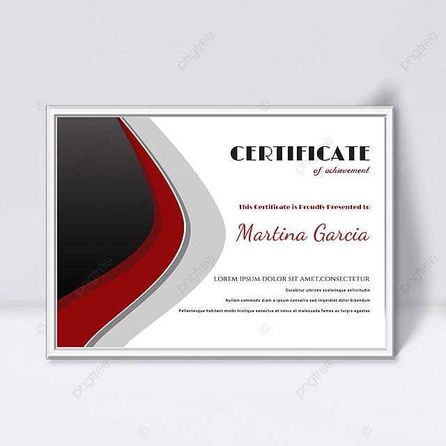 simple black and red fluid shape splicing certificate
