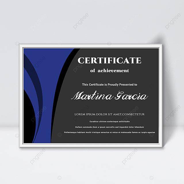 simple blue and black fluid shape splicing certificate