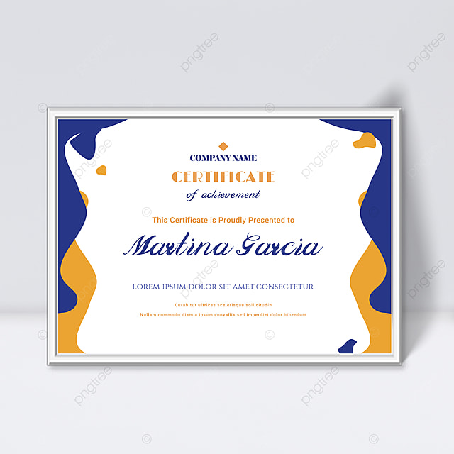 simple blue and yellow fluid shape splicing certificate