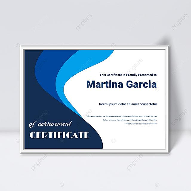 simple blue shape fluid certificate template