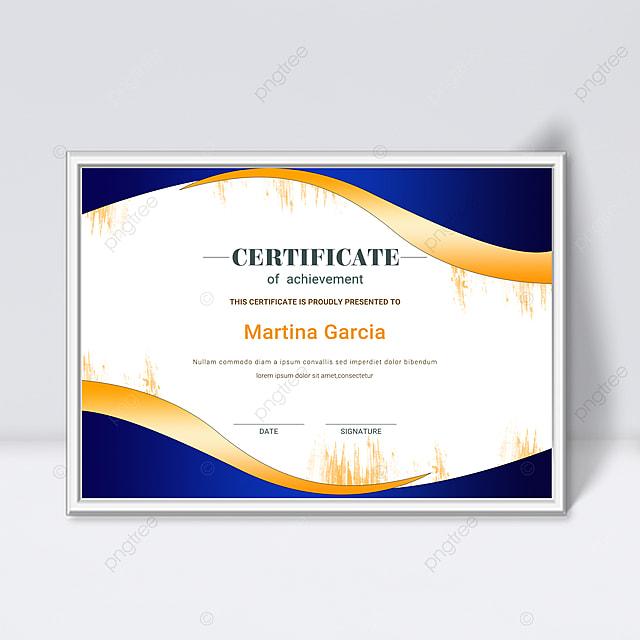 simple blue shape gradient fluid certificate template