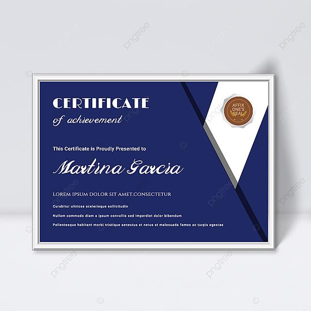 simple blue shape splicing fluid certificate