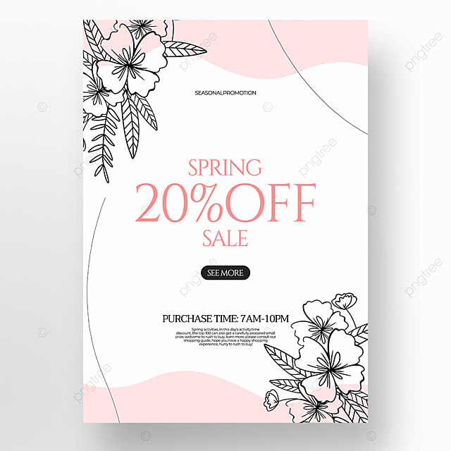 simple flower green plant linear draft style spring promotion poster on white background