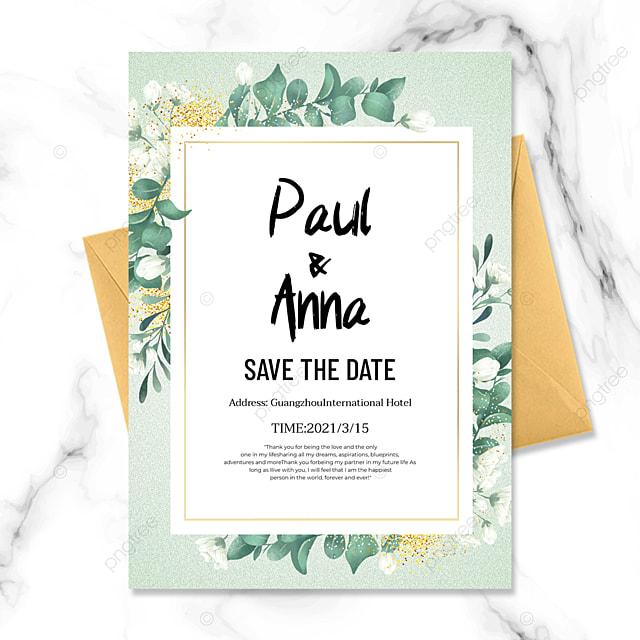 simple green plant golden line wedding invitation