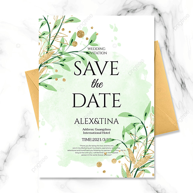simple ink background green plant golden line wedding invitation