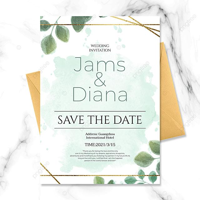 simple ink green plant golden line wedding invitation