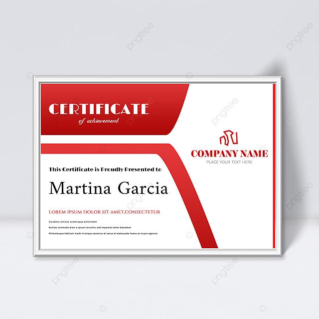 simple red fluid shape splicing certificate