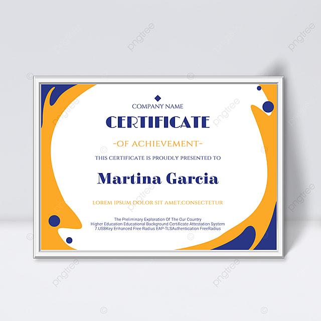 simple shape fluid yellow certificate promotion template