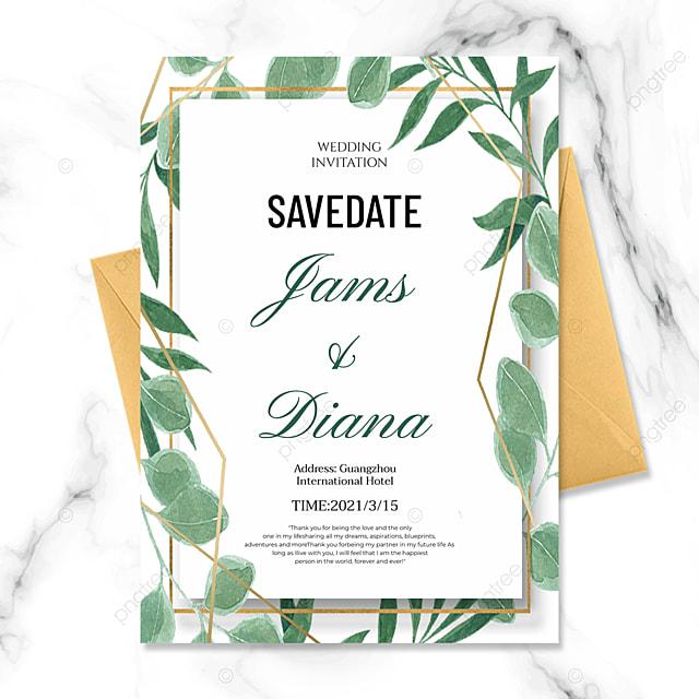 simple style creative green plant golden line wedding invitation