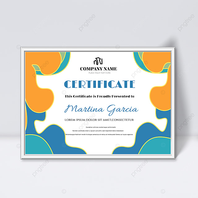 simple yellow and blue shape fluid certificate