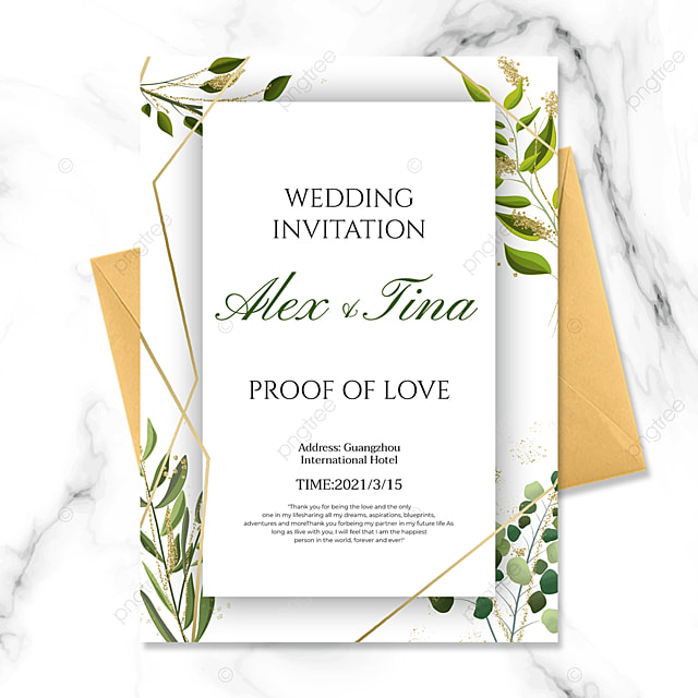 wedding invitation with fashion green plants golden lines on white background