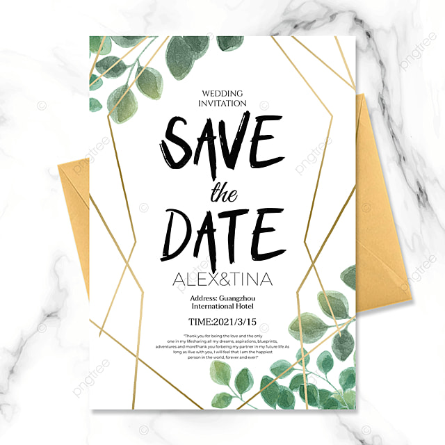 wedding invitation with green plants and golden lines on white background