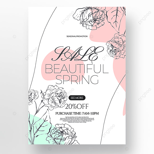 white background flower green plant linear draft style spring promotion poster