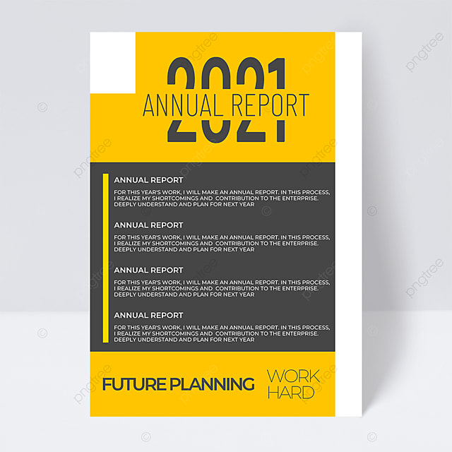 yellow and gray business fashion 2021 trend color annual report flyer