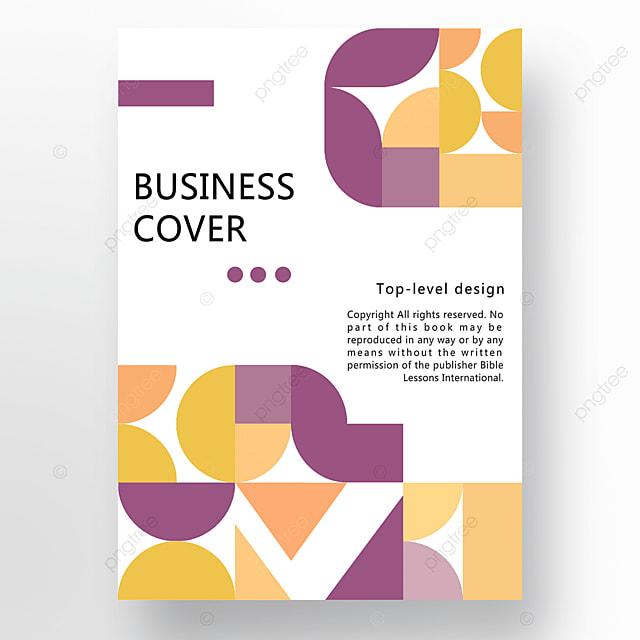 yellow purple orange modern stylish geometric business plan cover poster