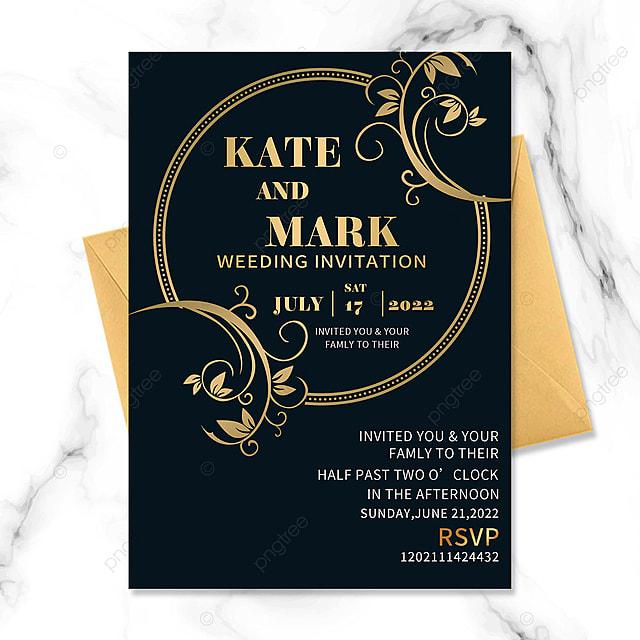 black gold border floral vintage wedding invitation