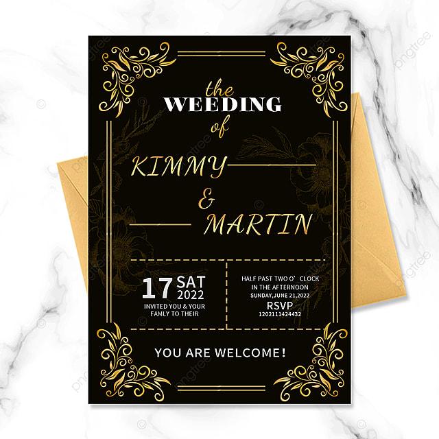 black gold border vintage floral invitation wedding