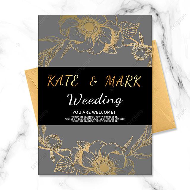 black gold floral vintage wedding invitation