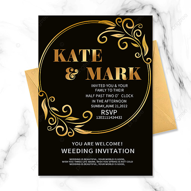 black gold vintage border floral wedding invitation