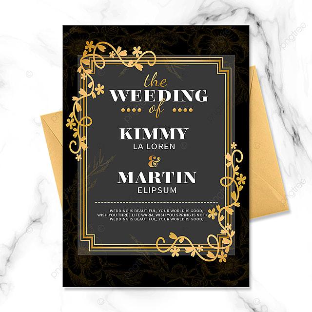 black gold vintage floral border invitation