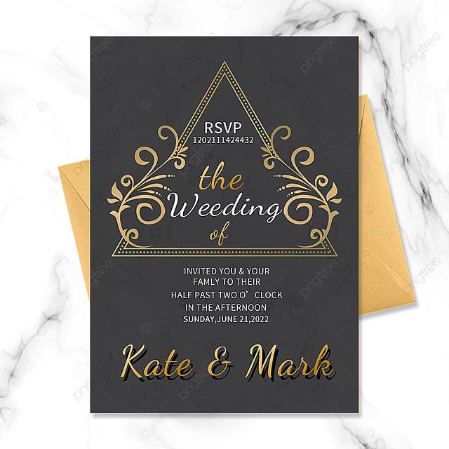 black gold vintage floral border wedding invitation