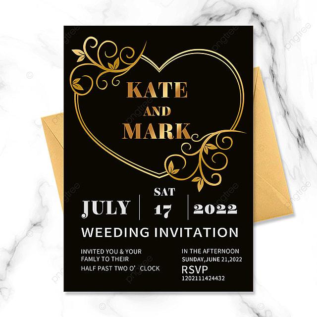 black gold vintage floral wedding border invitation
