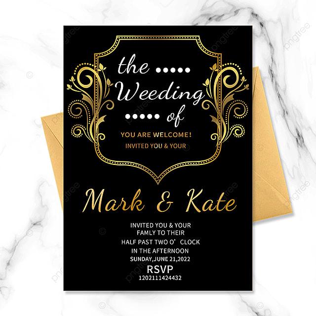 black gold wedding border floral vintage invitation
