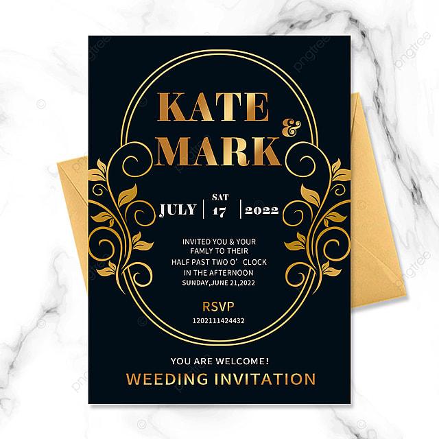black gold wedding golden vintage border floral invitation