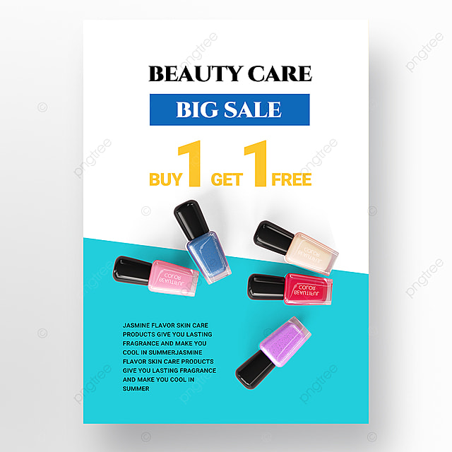 blue and white simple beauty product promotion poster promotion template