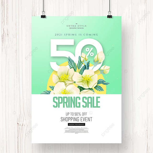 cartoon fashion simple flower spring promotion poster