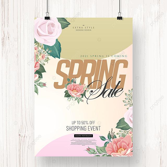 cartoon flower fashion color spring promotion poster