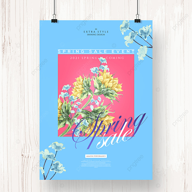 cartoon flower fashion spring promotion poster