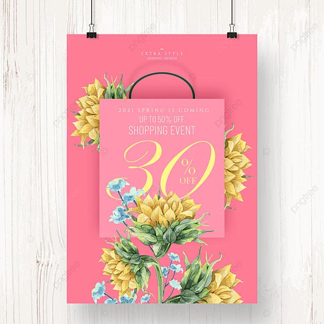 cartoon flower romantic fashion promotion poster