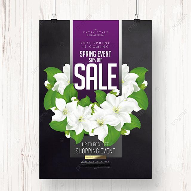 cartoon simple flower spring promotion poster