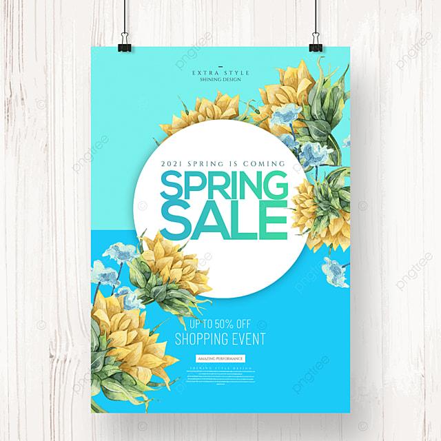 cartoon simple spring flower promotion poster