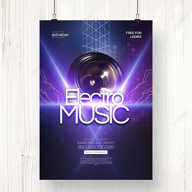 creative fashion light electronic music party poster