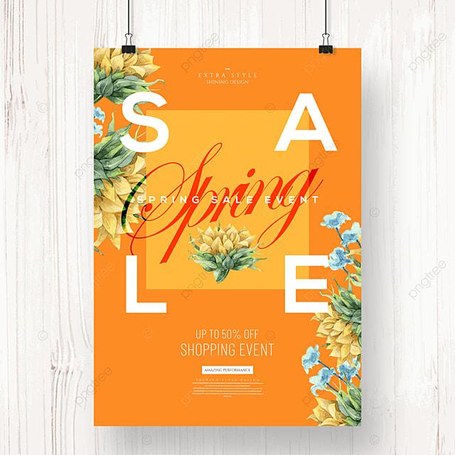 creative fashion simple cartoon flower promotion poster