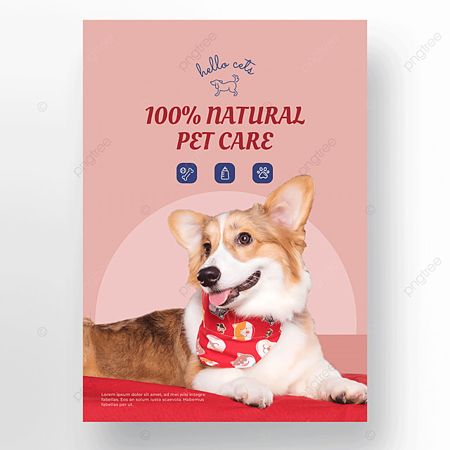 cute icon pet care cat and dog shop poster template