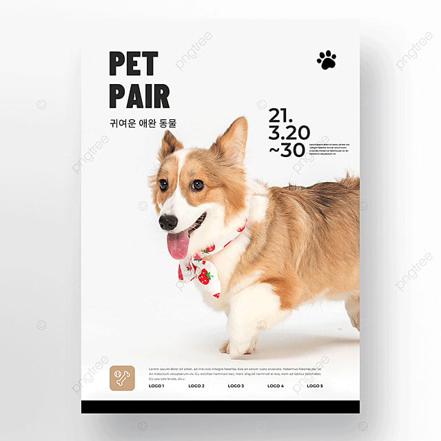 cute pet store icon cat and dog care poster template